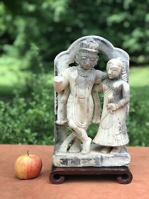 Antique Chinese Tibet India Marble Limestone Stone Figure Statue Carving