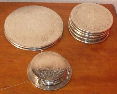Vintage Silver Plated Coaster Set 14 Pieces