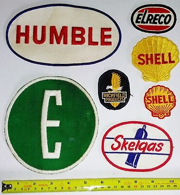 VNTG Embroidered Automotive Gasoline Patches Original #43 Lot of 7 HUMBLE SHELL