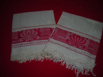Pair (2) Vintage Red Damask Linen Towels Large 36 x 20