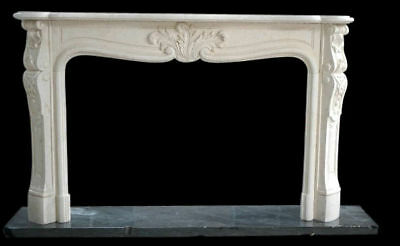 Lovely Hand Carved French Style Marble Fireplace Mantel