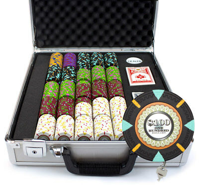 500 Count Claysmith 'The Mint' Poker Chips Set in Claysmith Aluminum Case