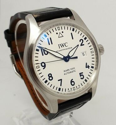 IWC Pilot Mark XVIII Mens Steel White Dial 40mm Watch IW327002