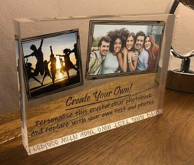 7x5 Personalised Crystal Photos Quote Block Friendship Best Friend Present Gift