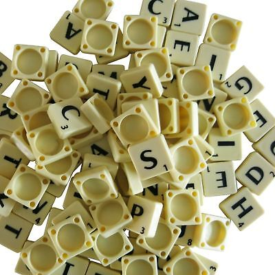 New 100 Plastic Scrabble Tiles Ivory/black Letters Numbers For Crafts Uk Seller