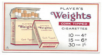 Player's Weights Cigarettes Vintage Advertising Card c1950s