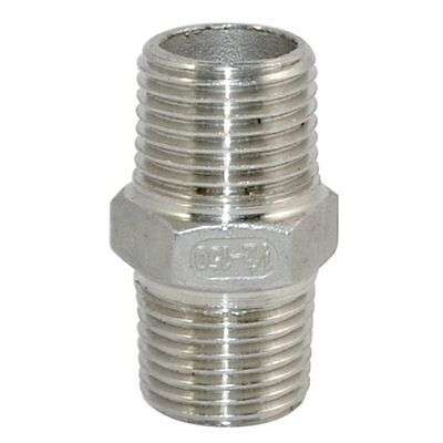 """1/2"""" Male 1/2"""" Male Hex Nipple Stainless Steel 304 Threaded Pipe Fitting NPT"""