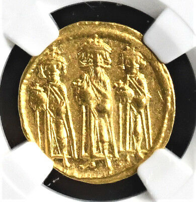 Ngc Certified Byzantine Heraclius  Gold Solidus, 610-641 A.d.