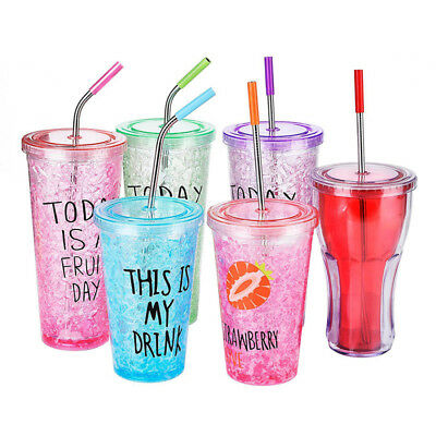 4Pcs /Home Stainless Steel Straws Reusable Metal With Silicone Tips Clean Brush