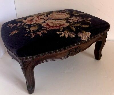 "Antique Wool Needlepoint Carved Walnut Small Victorian Footstool 13x10x6.5"" EUC"