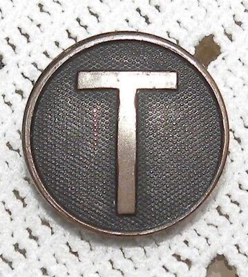 US ARMY TRANSPORT? CORPS Collar Disc Disk 1 1/8 Inch Diameter COPPER Brass Back