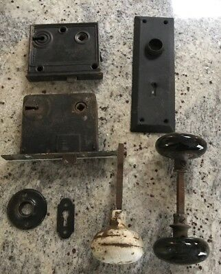 Vintage Antique Door Knobs Locks Plate Hardware Architectural Salvage Repurpose