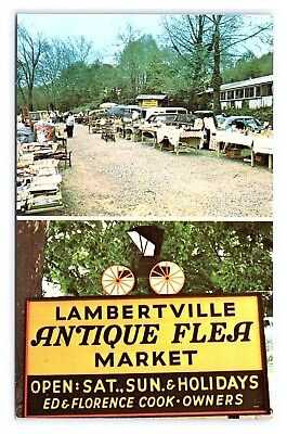 Vintage Postcard Lambertville Antique Flea Market Route 29 New Jersey E4