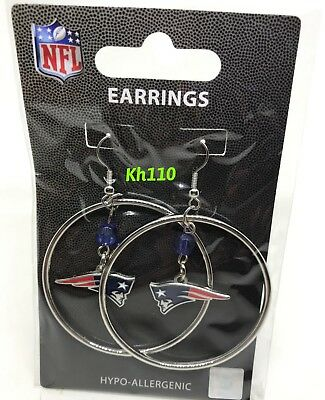 NFL New England Patriots Hoop Earrings with Crystal Bead Dangle