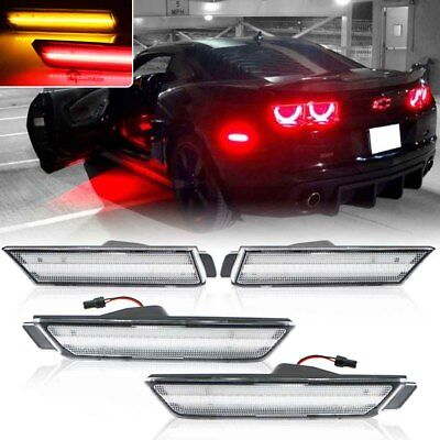 Fits 2010-2015 Chevy Camaro Front&Rear Side Marker Lights Clean Lens A/R LED Kit