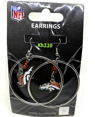 NFL Denver Broncos Hoop Earrings with Crystal Bead Dangle