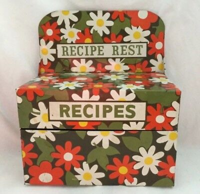 Vintage Japan Retro Tin RECIPES Box With Card Rest DAISIES Flower Power MCM