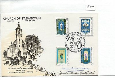 ISLE OF MAN - FIRST DAY COVER - FDC - (1810) 1976  Christmas - pmk Kirk Santon