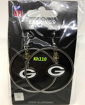 NFL Green Bay Packers Hoop Earrings with Crystal Bead Dangle