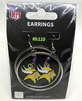 NFL Minnesota Vikings Hoop Earrings with Crystal Bead Dangle
