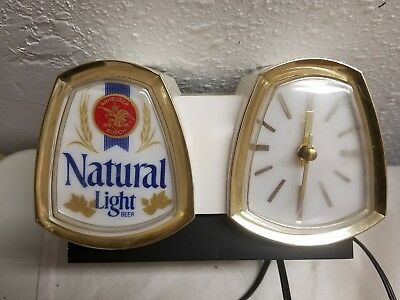 Vintage Natural Light Beer Lighted Cash Register Sign Clock With Bracket