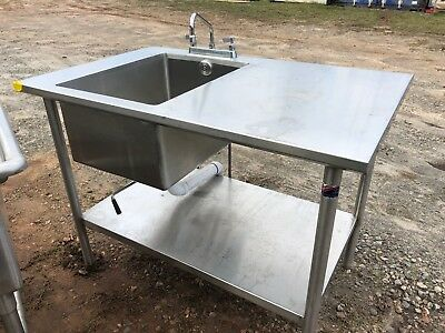 "4' x 30"" Stainless Steel Table 1 Compartment Sink Faucet Combo Heavy Duty NSF"