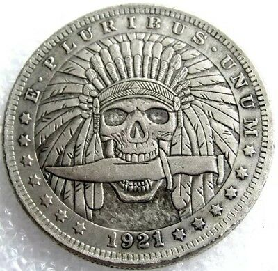 Rare New Hobo Nickel 1921 Morgan Dollar Skull Skeleton Indian With Knife Coin