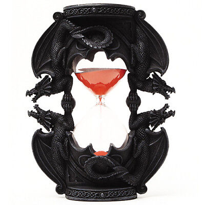 NEW! Black Dual Dragon Sand Timer Hourglass Gothic Mythical Medieval Gift 8258