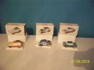 mint in box set of three classic cars from department  56 snow village 5457-7