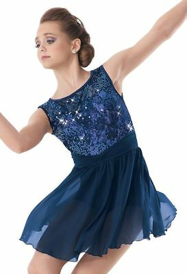 In My Place Navy Blue Dance Costume by Weissman in Size Small Adult