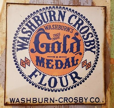 """Vintage Style Metal Sign Washburn-Crosby Co. Gold Medal Flour 12.75"""" Square"""