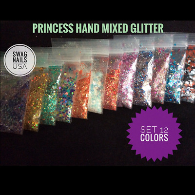 Glitter Nail Art Princess Colors Accessories Decoration *1 TSP* GEL ACRYLIC