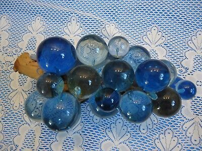 """Vintage Acrylic Blue Grapes 11"""" Cluster on Driftwood Mid-Century Lucite Large"""