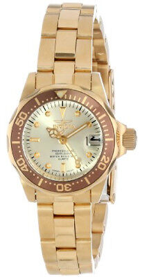 Invicta Pro Diver Champagne Dial 18kt Gold Ion-plated Ladies Watch 12527