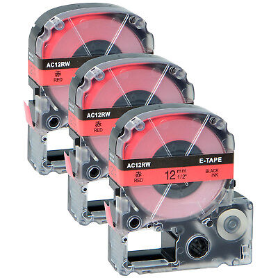 3 PK Black on Red 12mm 8m LC-4RBP Label Tape Compatible for LW500 LW700 LW1000P