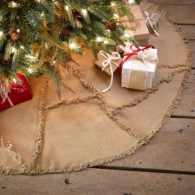 Tan Farmhouse Holiday Decor VHC Burlap Natural Tree Skirt Cotton