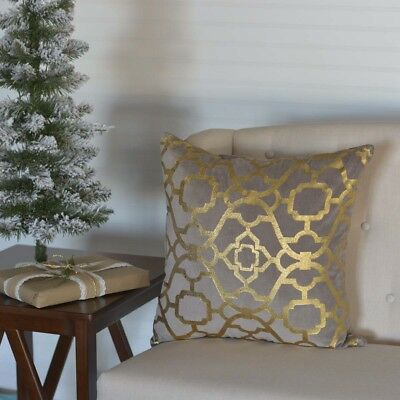 Grey Holiday Decor VHC Gold Foil 18x18 Pillow Cotton Modern Stenciled