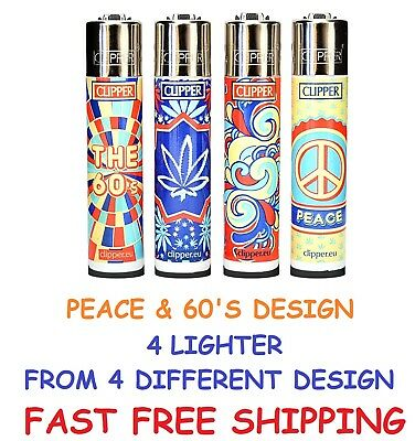 4 Full Size CLIPPER Refillable Lighters HIPPIE THE 60'S PEACE CANNABIS LIGHTER