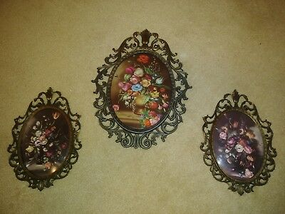 3 Ornate Vintage Metal Picture Frames w/ Convex Glass Made in Italy Flowers