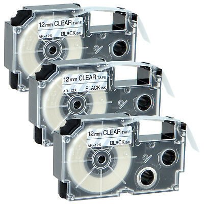 """3PK Black on Clear 12mm XR-12X Label Tapes for KL-8100 8200 7200 8800 1/2"""" 26ft"""