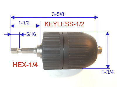 "1 pc keyless 1/16""-1/2"" Capacity with 1/4"" Hex adapter Drill Chuck S"