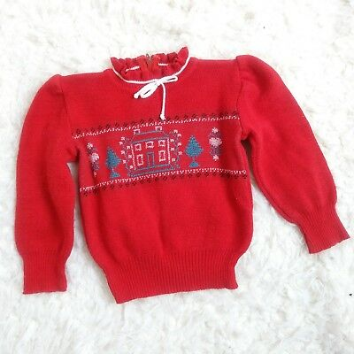 Little World Vintage Red Christmas Sweater  Ruffle Neck Baby size 6 12 months