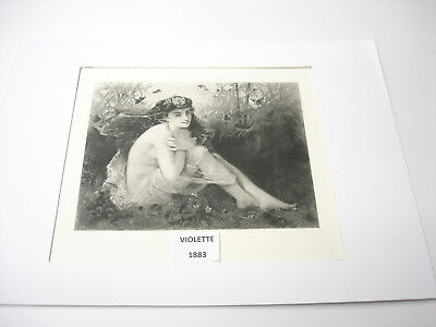 Rare Old ANTIQUE 1883 ART PRINT IN GOLD WOOD Frame VIOLETTE  BEAUTIFUL