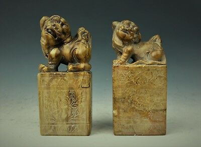 Two Large Chinese shopstone Caver Stamp seal - Late 19th Century