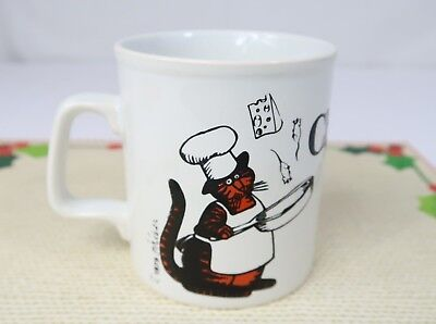 Vintage Kliban CHEF CAT Coffee Mug Kiln Craft Staffordshire England 10 oz