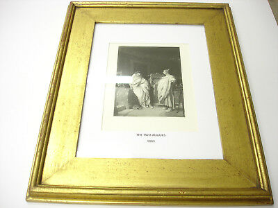 Rare Old ANTIQUE 1883 ART PRINT IN GOLD WOOD Frame THE TWO AUGURS BEAUTIFUL LOOK