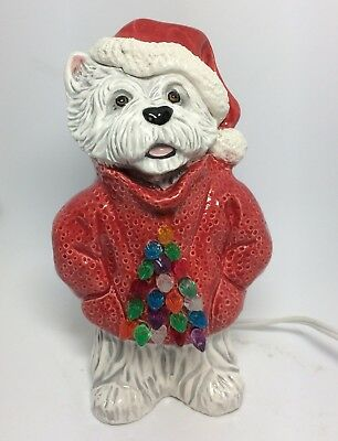 Christmas Sweater Westie dog light lamp original OOAK sculpture  art painting