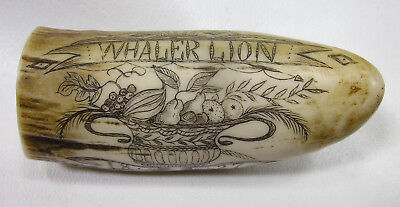 Vintage Scrimshaw Art on Resin Whale Tooth Whaling Theme Replica Carving