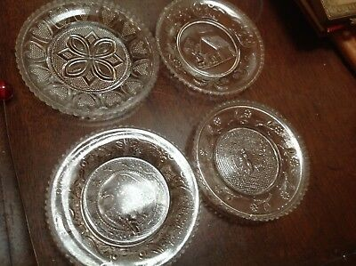 Antique Lacy Sandwich Glass Cup Plate Butterfly Flowers eagle cabin hearts lot 4