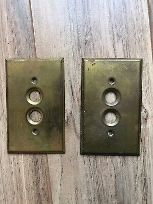 2 Vintage Antique Solid Brass Push Button Light Switch Plate Covers